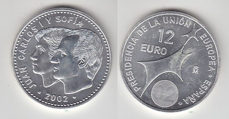 12 Euro Silbermünze Spanien Juan Carlos mit Frau EU Präsidentschaft 2002(113677)