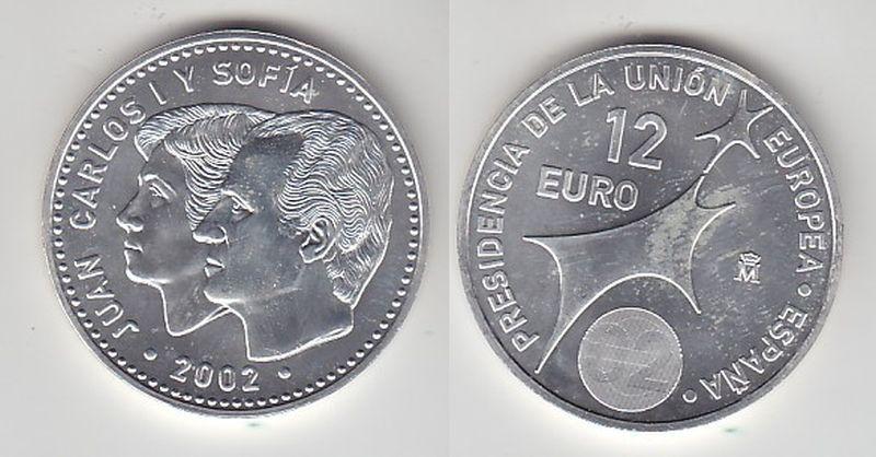 12 Euro Silbermünze Spanien Juan Carlos mit Frau EU Präsidentschaft 2002(116738)