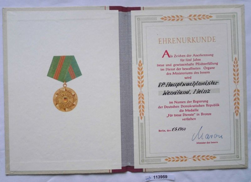 DDR Urkunde Medaille für treue Dienste Ministerium des Innern in Bronze (113959)