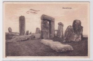 82607 Ak Doppeldecker über Stonhenge bei Amesbury in Wiltshire, England 1924