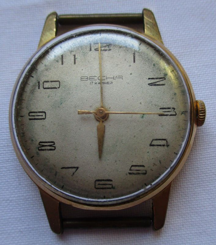 Vergoldete Becha Herren Armbanduhr mit Handaufzug 17 Steine (123886)