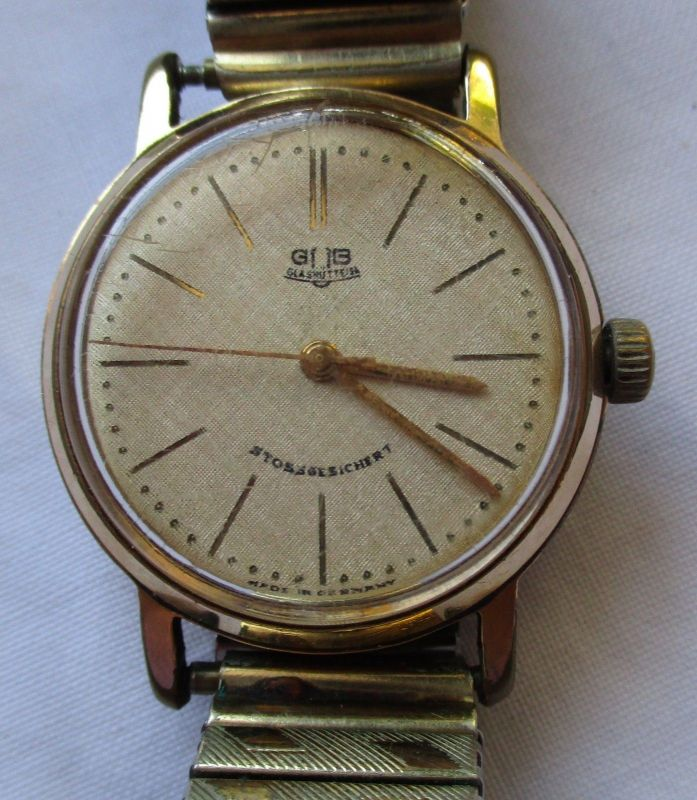 Seltene GUB Glashütte SA Herren Armbanduhr Handaufzug mit Metallarmband (121456)