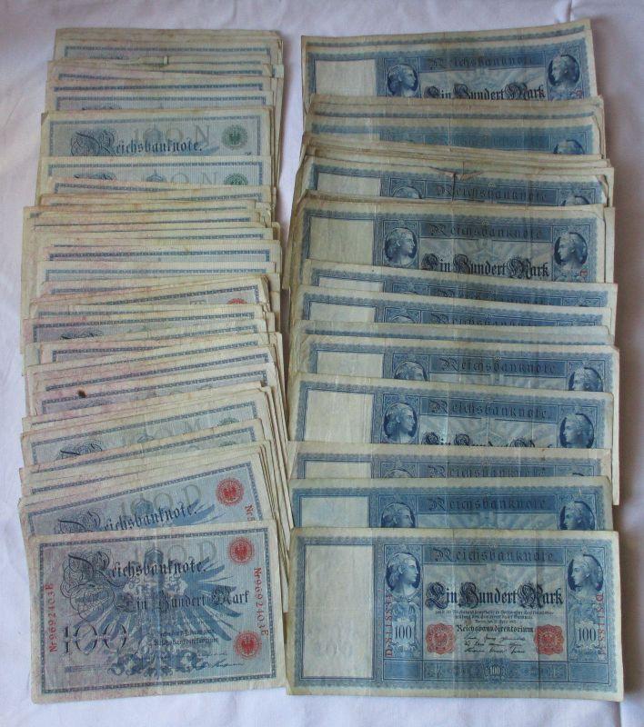100 Banknoten zu 100 Mark 1908, 1909, 1910 Deutsches Kaiserreich (125053)