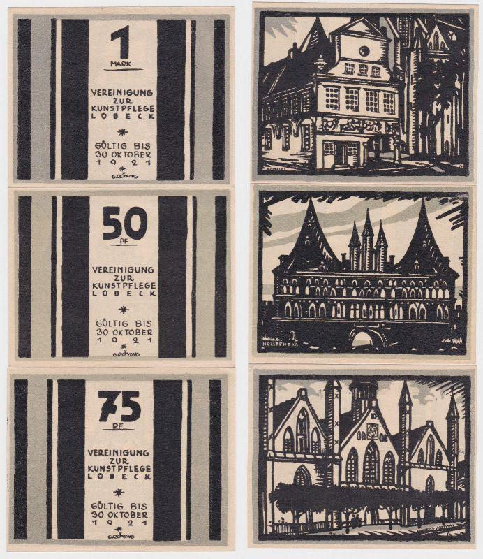 3 Banknoten Notgeld Lübeck Vereinigung zur Kunstpflege o.D. (1922) (110390)