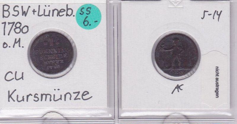 1 Pfennig Kupfer Münze Braunschweig-Lüneburg 1780 (121801)
