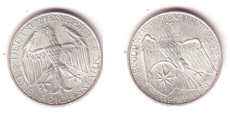 Silbermuenze 3 Mark Vereinigung Waldeck mit Preussen1929