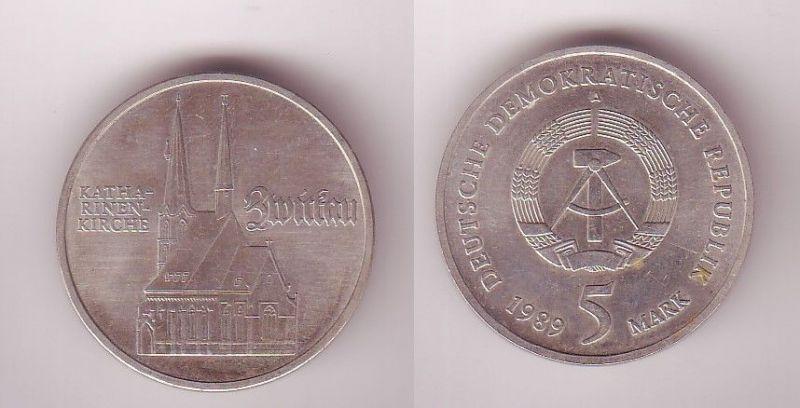 DDR Gedenk Münze 5 Mark Zwickau Katharinenkirche 1989 (115290)