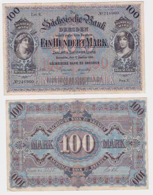 100 Mark Banknote sächsische Bank Dresden 02.01.1911 (114105)
