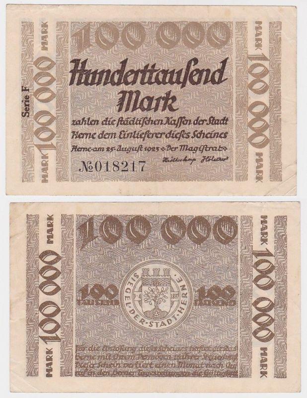 100000 Mark Banknote Inflation Stadt Herne 25.08.1923 (110013)