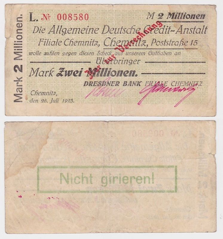 2 Millionen Mark Banknote Chemnitz ADCA 26.Juli 1923 (111787)