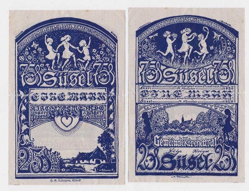 1 Mark Banknote Notgeld Gemeinde Kirchenrat Süsel 4.11.1920 (106551)