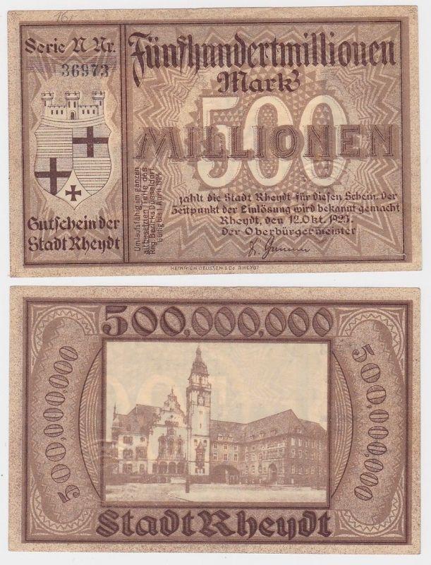 500 Millionen Mark Banknote Inflation Stadt Rheydt 12.10.1923 (114067)