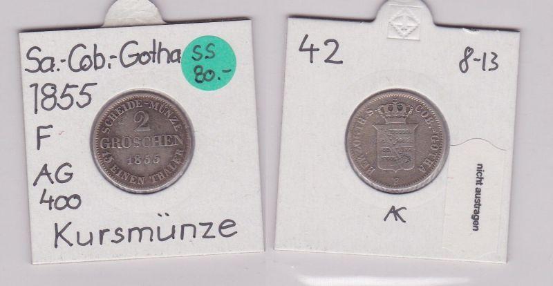 2 Groschen Silber Münze Sachsen-Coburg-Gotha 1855 F (120710)