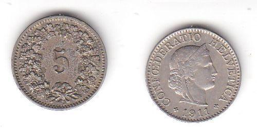 5 Rappen Nickel Münze Schweiz 1911 B (114382)