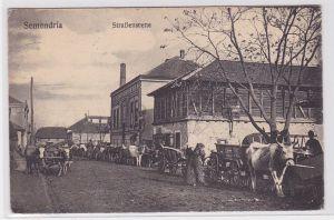 80329 Feldpost AK Semendria (Smederevo) - Straßenscene mit Fuhrwerken 1916