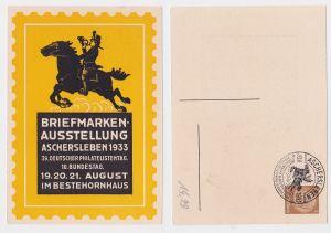 89768 Ak Ganzsache Briefmarken-Ausstellung Aschersleben August 1933