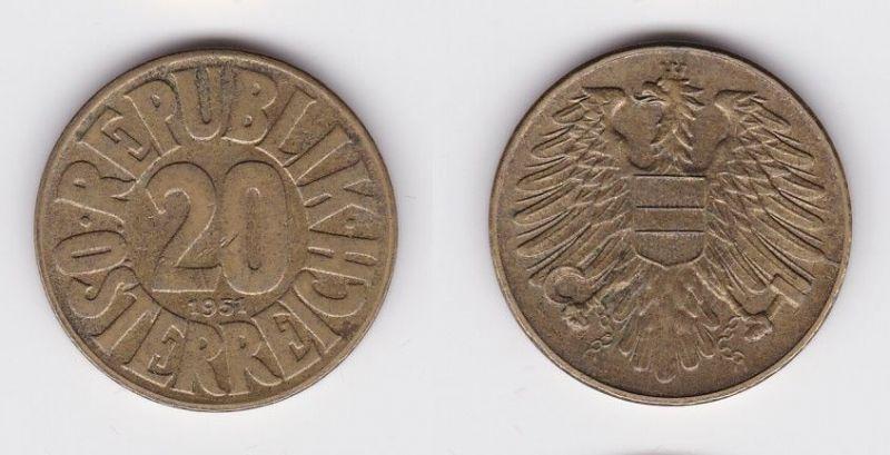 20 Groschen Messing Münze Österreich 1951 (117251)