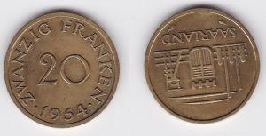 20 Franken Messing Münze Saarland 1954 (113572)