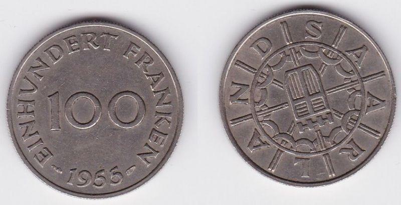 100 Franken Kupfer Nickel Münze Saarland 1955 (118328)
