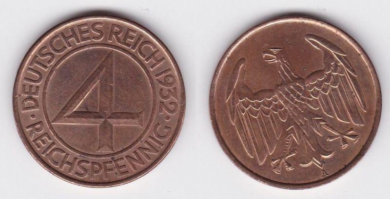 4 Pfennig Kupfer Münze Weimarer Republik 1932 A