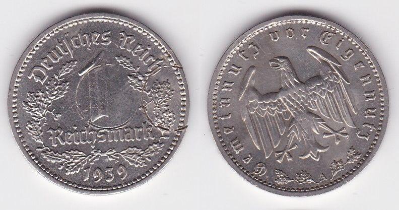 1 Mark Nickel Münze 3.Reich 1939 A, Jäger 354 (116248)