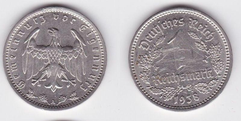 1 Mark Nickel Münze 3.Reich 1938 A, Jäger 354 (110808)
