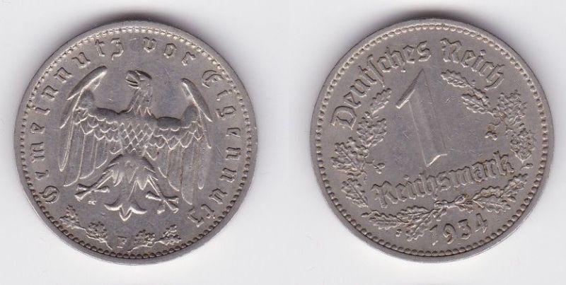 1 Mark Nickel Münze III.Reich 1934 F Jäger Nr. 354 (116151)