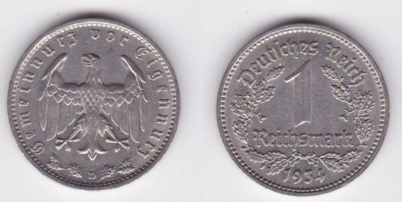 1 Mark Nickel Münze III.Reich 1934 D Jäger Nr. 354 (118359)
