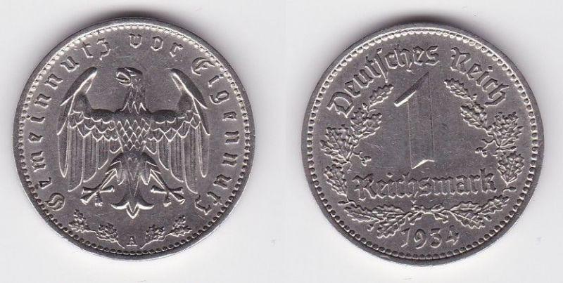 1 Mark Nickel Münze III.Reich 1934 A Jäger Nr. 354 (114299)