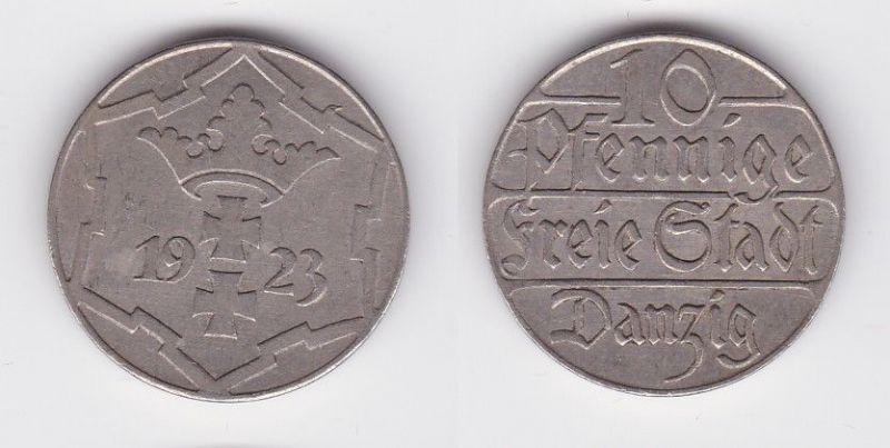 10 Pfennig Kupfer Nickel Münze Danzig 1923 Jäger D 5 (114060)