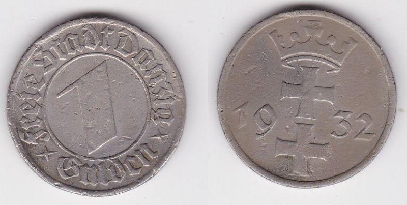 1 Gulden Silber Münze Freie Stadt Danzig 1932 (118475)