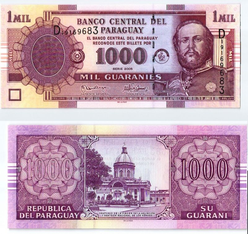 1000 Guaranies Banknote Paraguay 2005 kassenfrisch (123794)