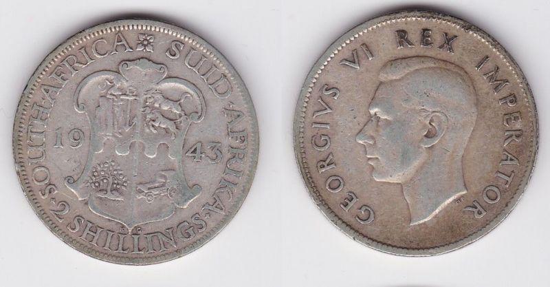 2 Schilling Silber Münze Südafrika Georg Vi Wappen 1943 114402