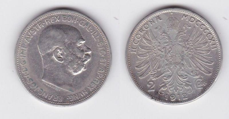2 Kronen Silber Münze Österreich 1912 (118905)
