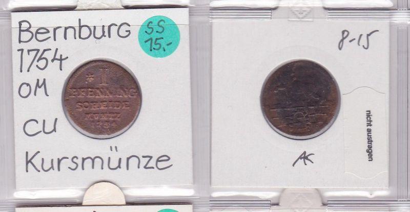 1 Pfennig Kupfer Münze Anhalt Bernburg 1754 (121793)