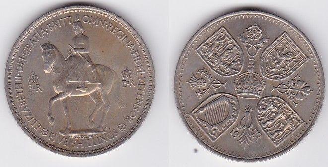 5 Schilling Crown Nickel Münze Großbritannien 1953 Mit 4 Wappen