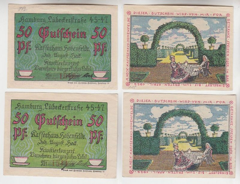 2 x 50 Pfennig Banknoten Notgeld Hamburg Kaffeehaus Hohenfelde o.D. (115824)