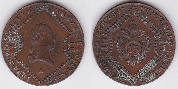 15 Kreuzer Kupfer Münze Österreich 1807 A (125650)
