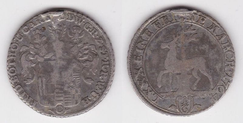 1/6 Taler Silber Münze Stollberg 1764 C (122954)