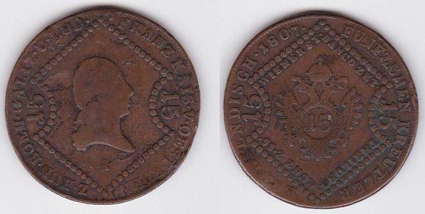 15 Kreuzer Kupfer Münze Österreich 1807 A (120129)