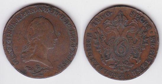 6 Kreuzer Kupfer Münze Österreich 1800 C (125210)
