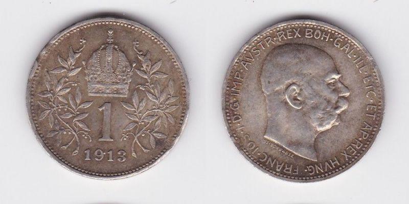1 Krone Silber Münze Österreich 1913 (123783)