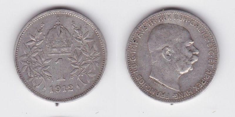 1 Krone Silber Münze Österreich 1912 (124586)