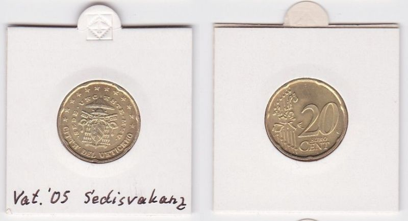 20 Cent Messing Münze Vatikan 2005 Sedisvakanz (125043)