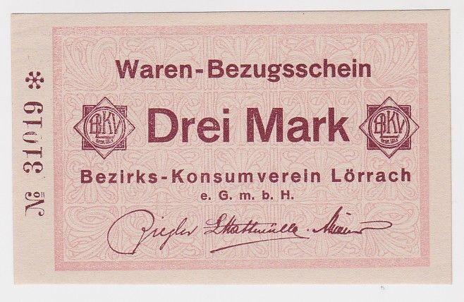 3 Mark Banknote Waren Bezugsschein Bezirks Konsumverein Lörrach  (102951)