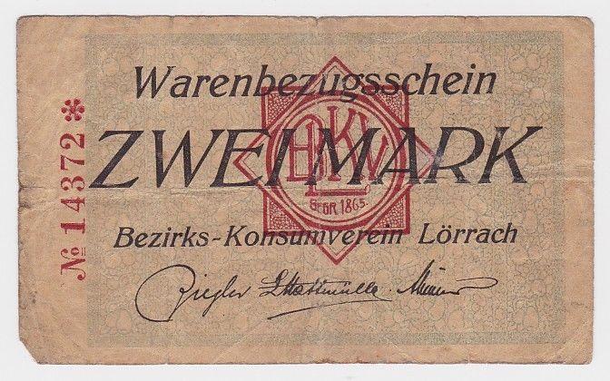 2 Mark Banknote Waren Bezugsschein Bezirks Konsumverein Lörrach  (108485)