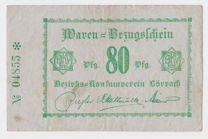 80 Pfennig Banknote Waren Bezugsschein Bezirks Konsumverein Lörrach  (109011)