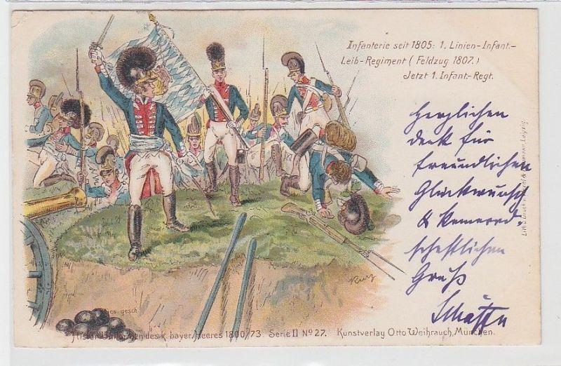 70741 Ak historische Uniformen des königlich bayerischen Heeres 1800/73