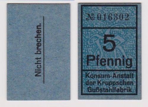 5 Pfennig Banknote Notgeld Konsum Anstalt der Kruppschen Gußstahlfabrik (120344)