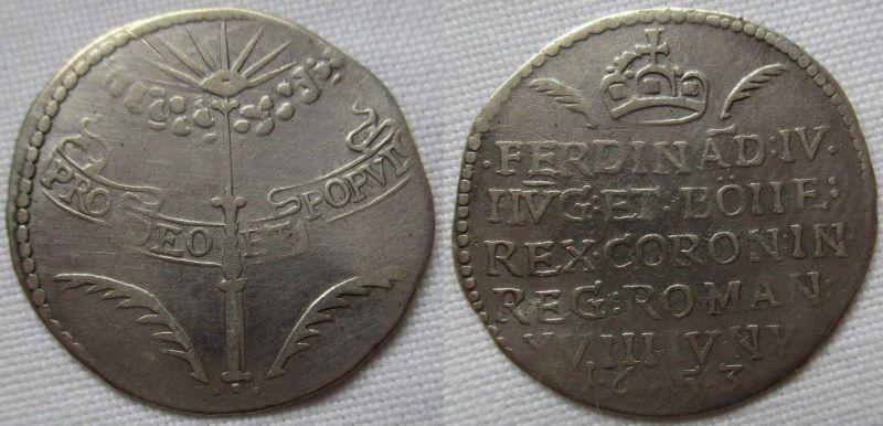 Jeton Silbermünze Ferdinand IV. Krönung in Regensburg Habsburg RDR 1653 (108231)